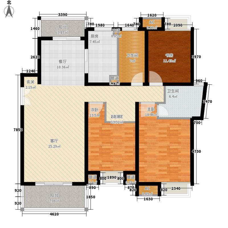 万源城乐斯生活会馆147.00㎡万源城朗郡户型图b1户型3室2厅2卫1厨户型3室2厅2卫1厨