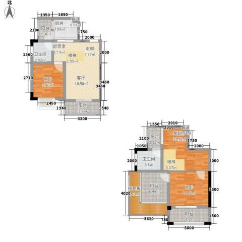 汇丰国际度假公寓2室0厅2卫1厨170.00㎡户型图