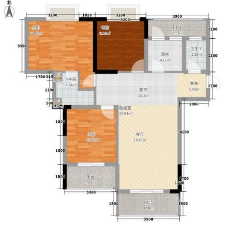 汇丰国际度假公寓3室0厅2卫1厨112.00㎡户型图