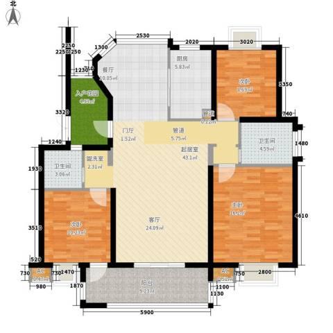 丽阳景苑二期3室0厅2卫1厨121.37㎡户型图