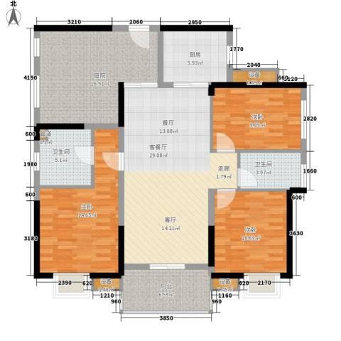 中信观澜凯旋城3室1厅2卫1厨125.00㎡户型图