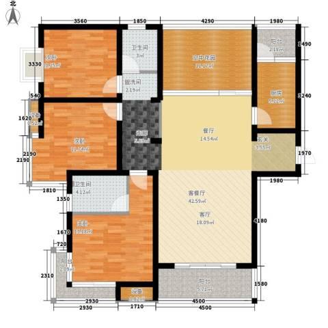 曲江诸子阶3室1厅2卫1厨144.00㎡户型图