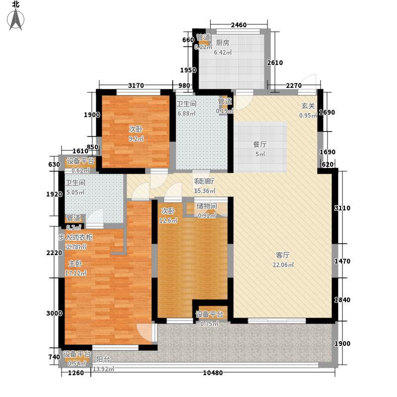 万科东郡139.00㎡万科东郡户型图B4-013室2厅2卫户型3室2厅2卫