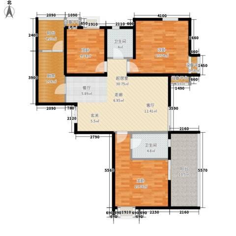 佳馨花园3室0厅2卫1厨130.00㎡户型图