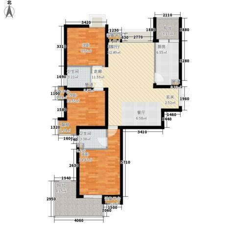 长安壹品3室1厅2卫1厨122.00㎡户型图