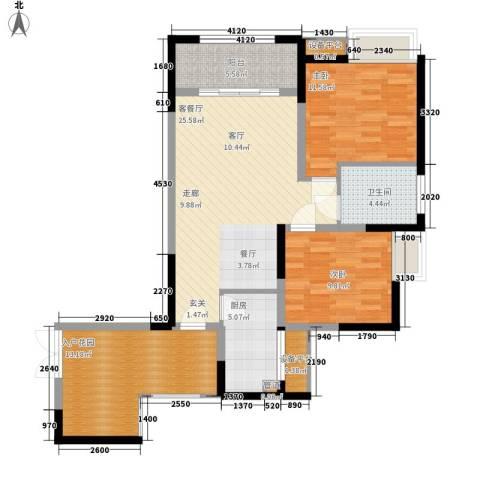 攀华国际广场2室1厅1卫1厨111.00㎡户型图