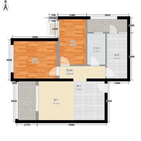 富庄庭2室1厅1卫1厨77.00㎡户型图