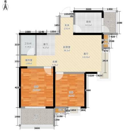 荣华北经城2室0厅1卫1厨96.00㎡户型图