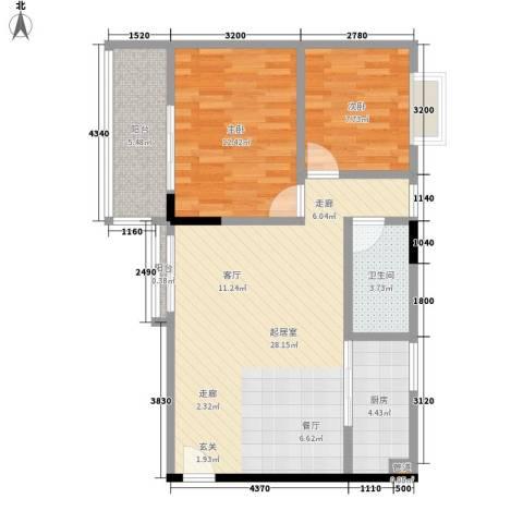 城市假日园2室0厅1卫1厨71.00㎡户型图