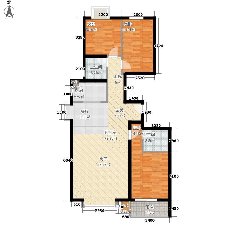 长风・香舍里项目户型图4#楼F户型 3室2厅2卫1厨