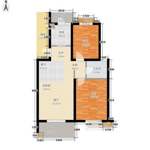 丽阳景苑二期2室0厅1卫1厨84.08㎡户型图