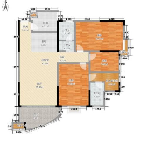富豪山庄盛翠华庭3室0厅2卫1厨138.00㎡户型图