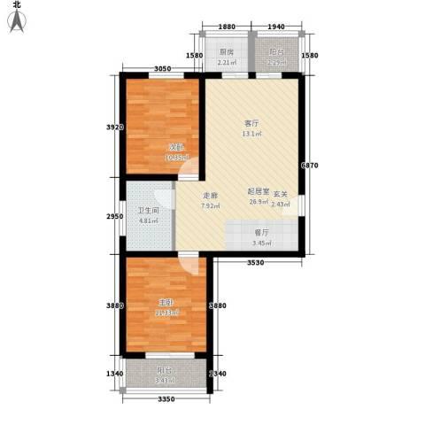 钢府逸居2室0厅1卫1厨81.00㎡户型图