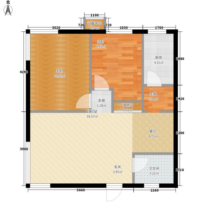 博客雅居86.85㎡B12户型2室2厅1卫1厨