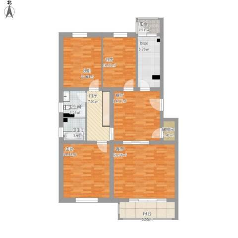 天露园一区3室2厅2卫1厨148.00㎡户型图
