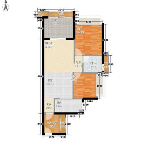 德盛・南岛康城2室0厅1卫1厨86.00㎡户型图