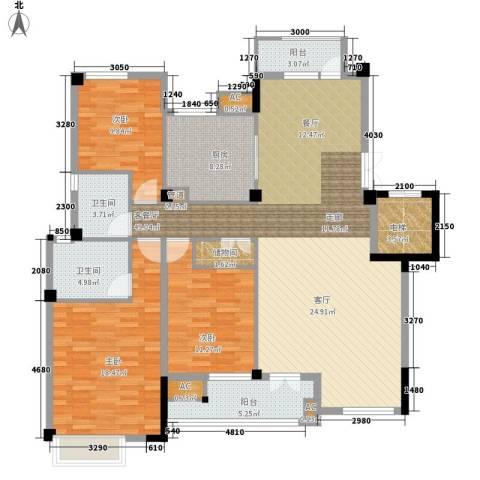 海棠湾花园3室1厅2卫1厨137.00㎡户型图