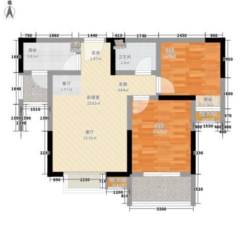 万象未央2室0厅1卫1厨80.00㎡户型图