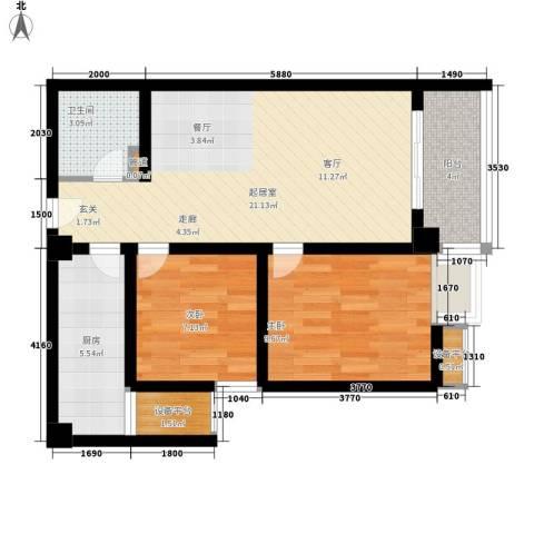 万象未央2室0厅1卫1厨77.00㎡户型图