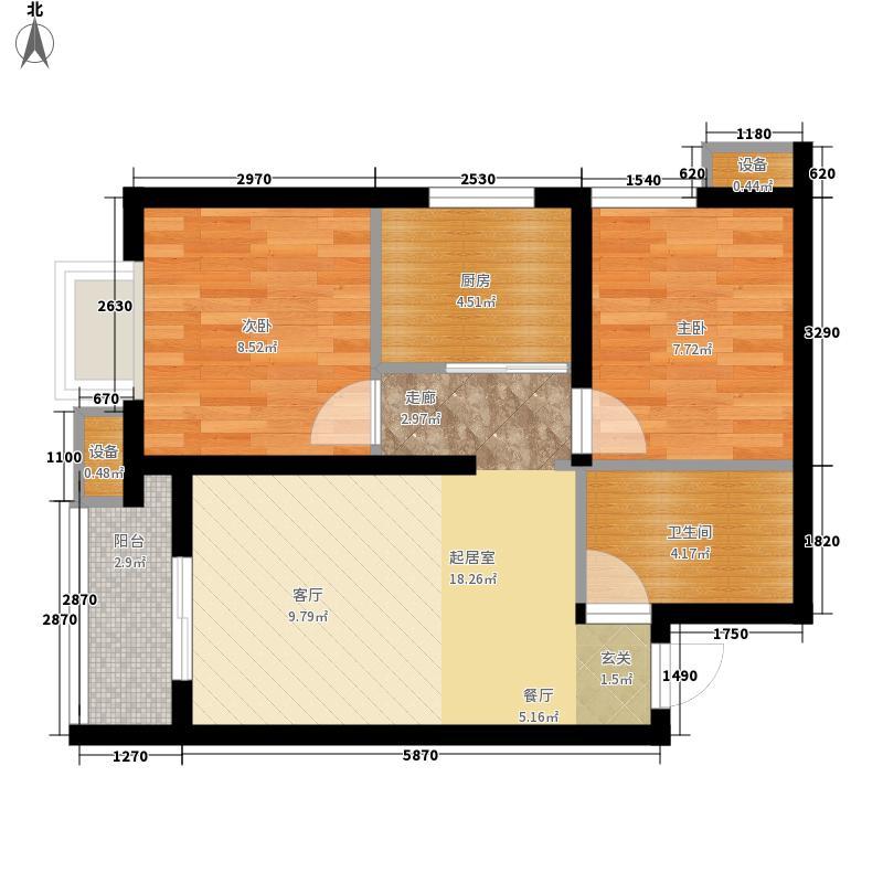 大兴九臻户型图2期B1户型(售完) 2室2厅1卫1厨