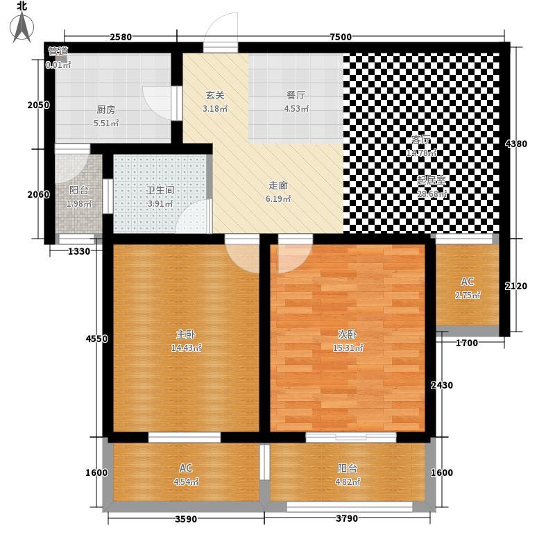 景城名轩89.66㎡A1-02户型2室2厅1卫1厨