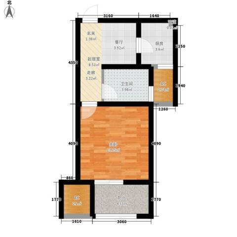 景城名轩1室0厅1卫1厨46.00㎡户型图