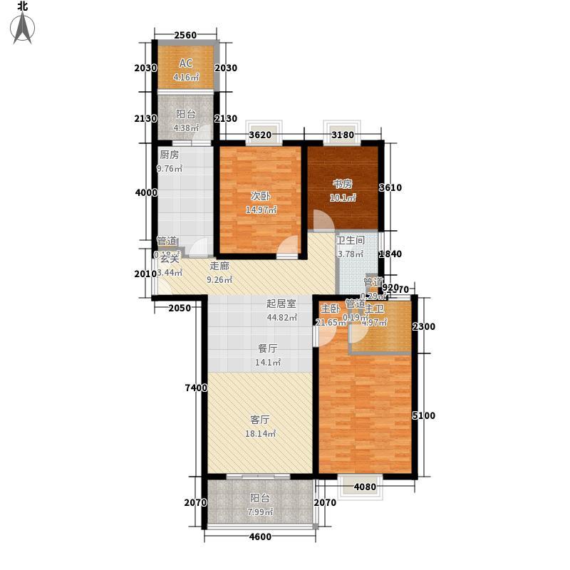 世茂外滩新城二期6号楼标准层C户型3室2厅2卫1厨