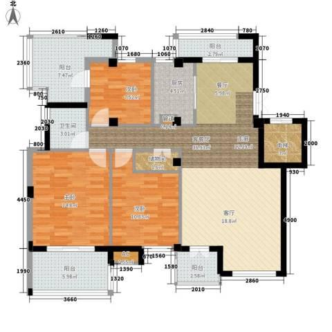 海棠湾花园3室1厅1卫1厨116.00㎡户型图