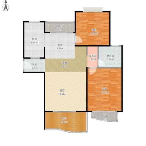 滨江名人苑2室1厅1卫1厨138.00㎡户型图