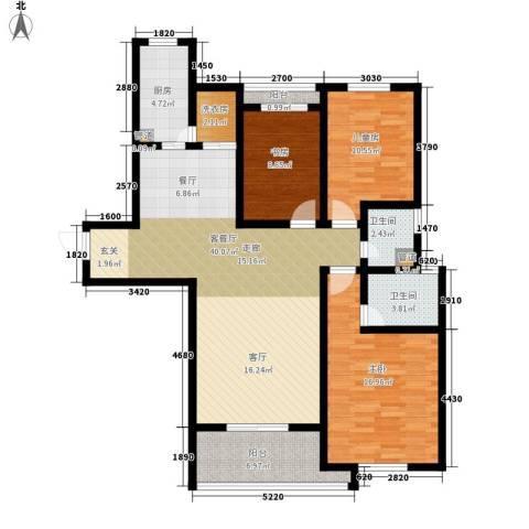 祥瑞东方城3室1厅2卫1厨124.00㎡户型图