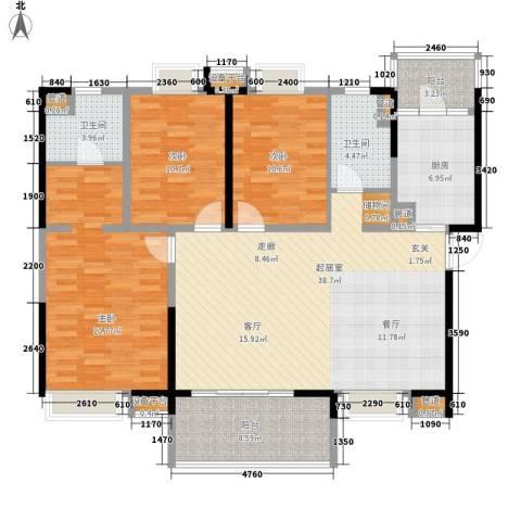 新世纪领居三期3室0厅2卫1厨135.00㎡户型图
