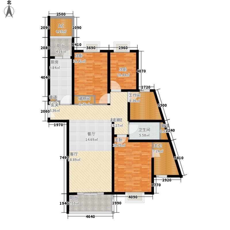 世茂外滩新城二期6号楼标准层D户型3室2厅2卫1厨