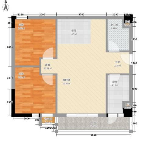 美丽南庭2室0厅1卫1厨81.00㎡户型图