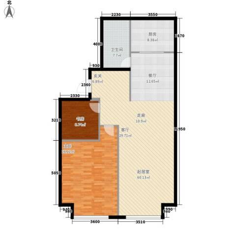 星海大观(沿海国际中心二期)2室0厅1卫1厨121.00㎡户型图