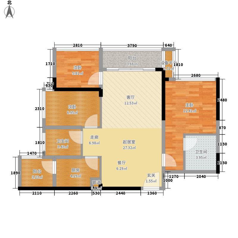 六和城83.00㎡A、B、C座05户型3室2厅