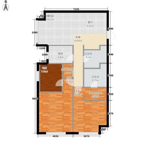星海大观(沿海国际中心二期)3室0厅2卫1厨153.00㎡户型图