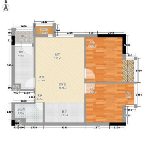 美丽南庭2室0厅1卫1厨70.00㎡户型图