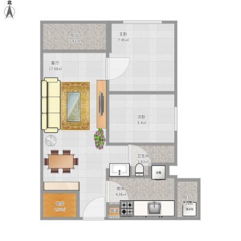 招商锦绣观园2室1厅1卫1厨58.00㎡户型图