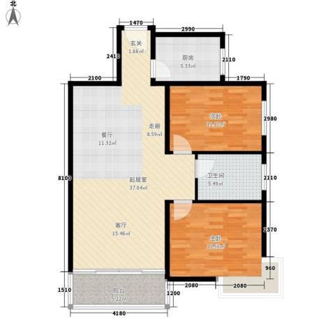 西城芳洲2室0厅1卫1厨96.00㎡户型图