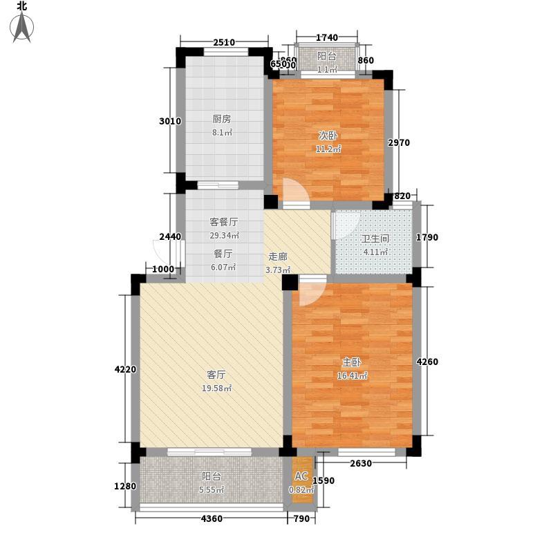 溪畔橡园88.00㎡4、7、10号楼A2户型2室2厅1卫1厨