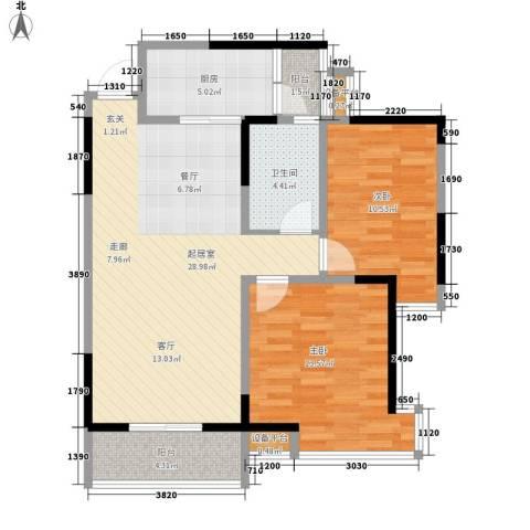 高山流水幸福快车2室0厅1卫1厨91.00㎡户型图