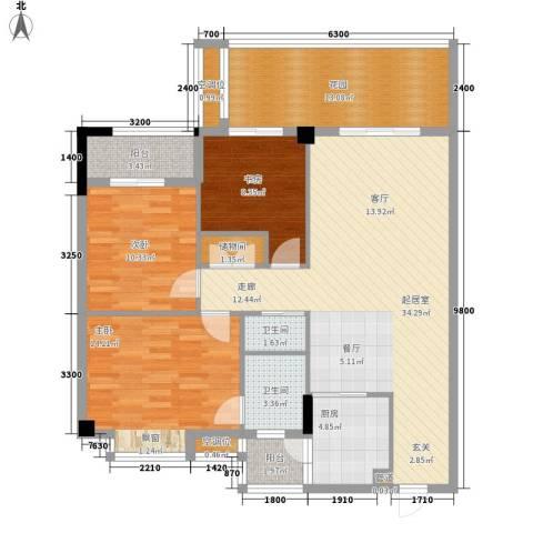 美丽南庭3室0厅2卫1厨112.00㎡户型图