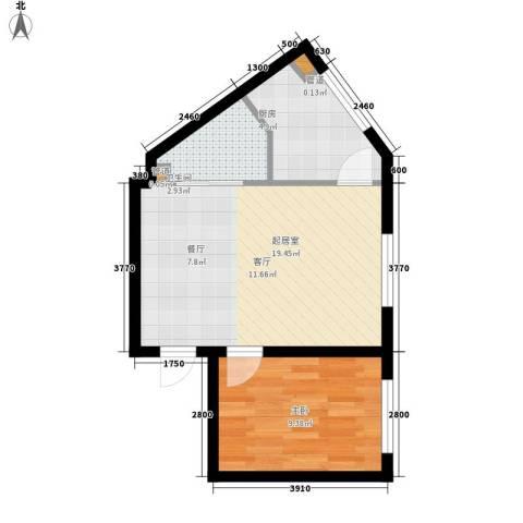 悦山国际1室0厅1卫1厨42.00㎡户型图