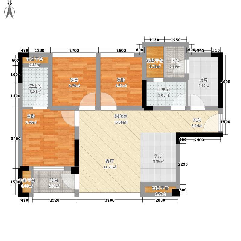 北大资源燕楠国际7.00㎡一期5号楼标准层C2-5户型3室2厅2卫1厨