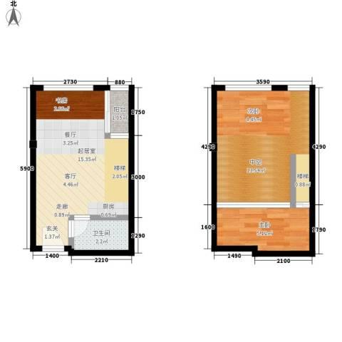 芒果公寓1室0厅1卫0厨43.00㎡户型图