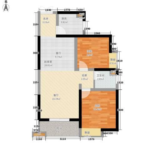 瑞泰卡地亚2室0厅1卫1厨87.00㎡户型图