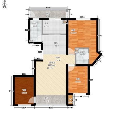 悦山国际3室0厅2卫1厨91.02㎡户型图