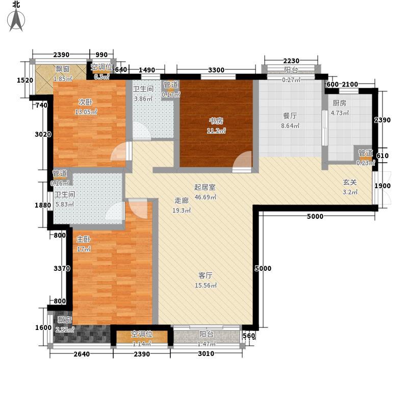 飞阳家园E1户型3室2厅2卫1厨
