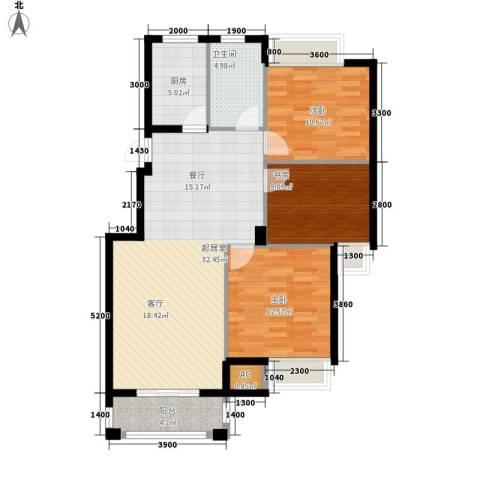 皇马公寓3室0厅1卫1厨110.00㎡户型图