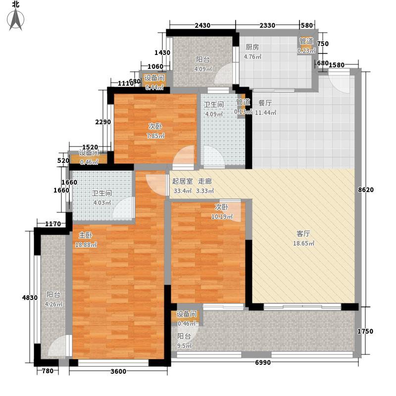 中德英伦联邦113.00㎡C区1号楼F2户型3室2厅2卫
